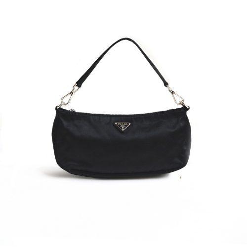 Vintage Prada Satin Shoulder Mini Baguette Bag in Black | NITRYL