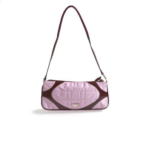 Vintage Rare Prada Satin Shoulder Mini Baguette Bag in Baby Pink and Maroon | NITRYL