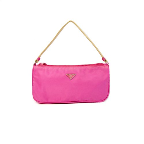 Vintage Prada Nylon Shoulder Mini Bag in Pink | NITRYL