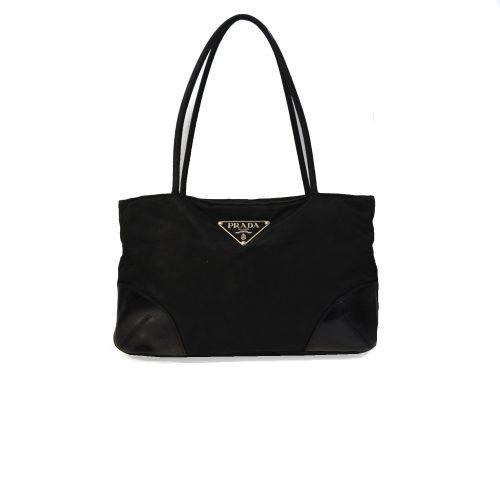Vintage Prada Nylon Shoulder Mini Tote Bag in Black | NITRYL