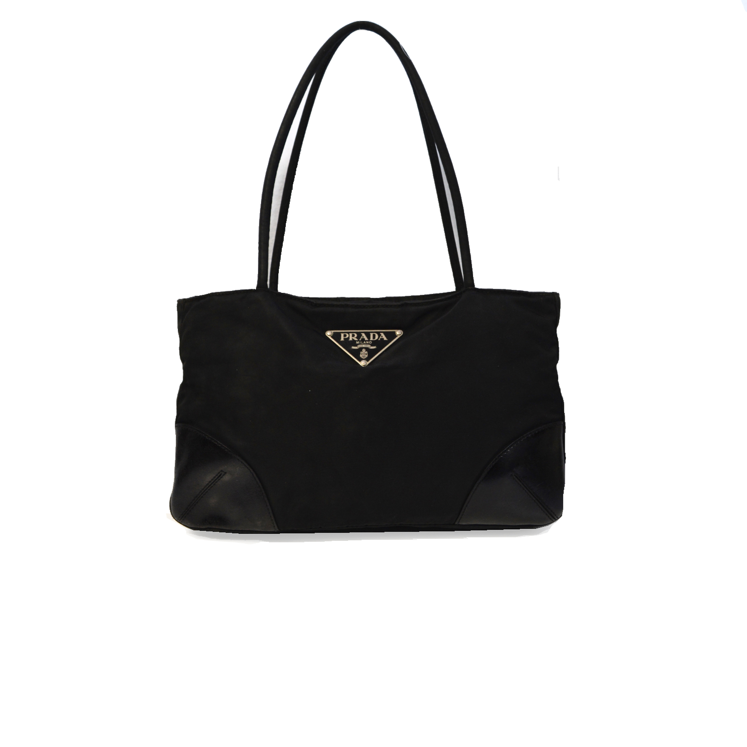 Vintage Prada Nylon Shoulder Mini Tote Bag in Black | NITRYL
