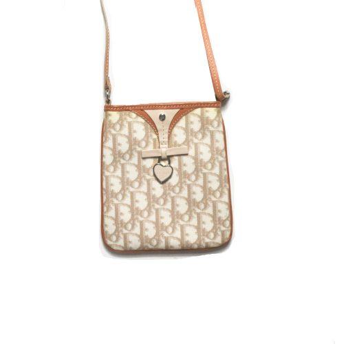Vintage Dior Monogram Cross Body Side Bag in Beige | NITRYL