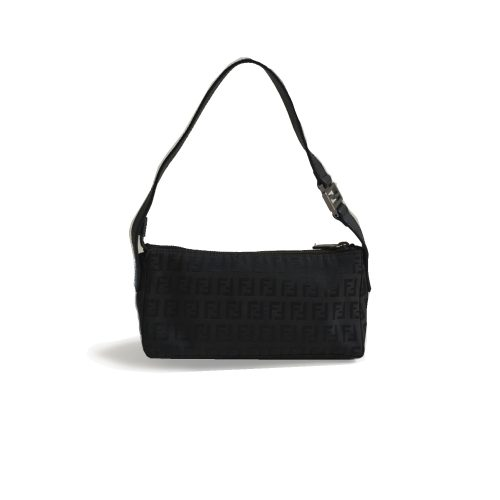 Vintage Fendi Zucchino Mini Baguette Shoulder Bag in Black | NITRYL