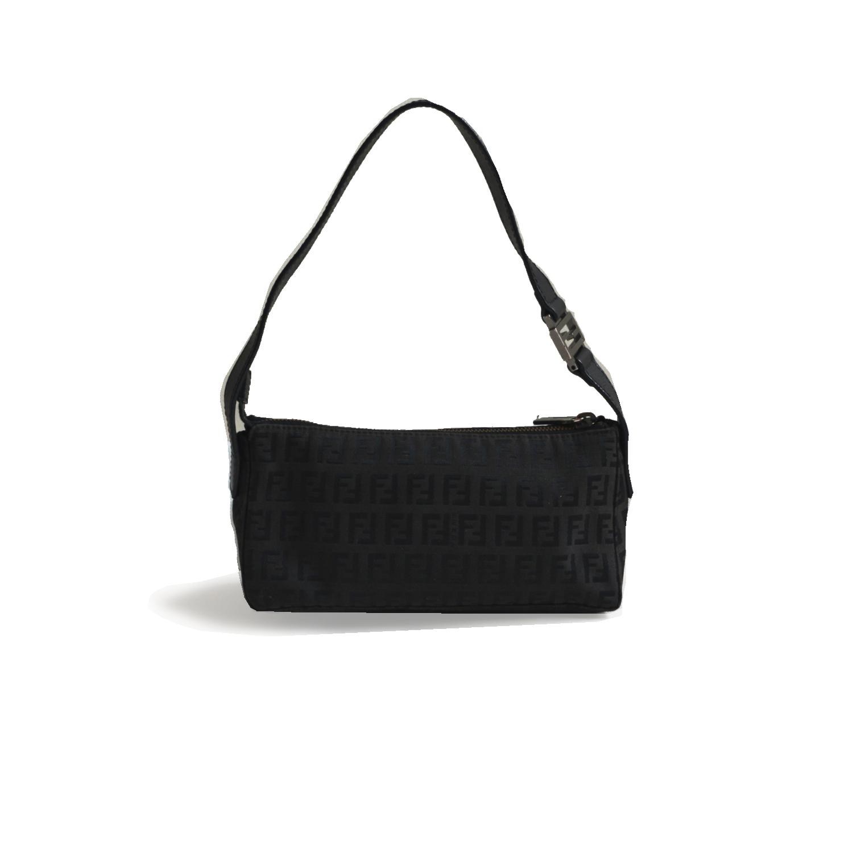 Vintage Fendi Zucchino Mini Baguette Shoulder Bag in Black | NITRYL