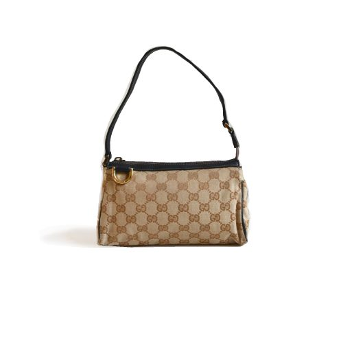 Vintage Gucci Monogram Pochette Mini Shoulder Bag in Beige | NITRYL