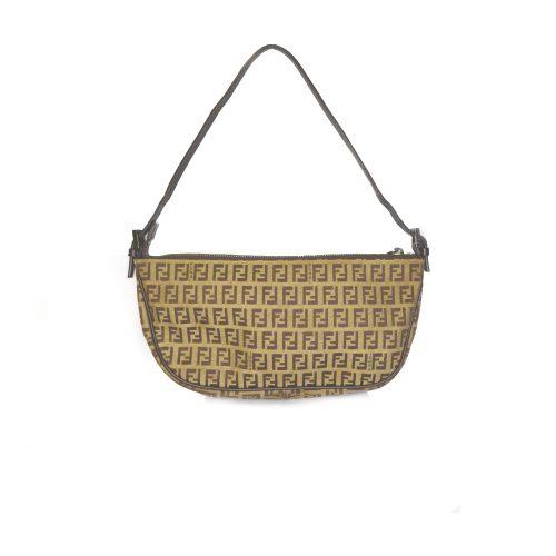 Fendi Crescent Zucchino Monogram Baguette Bag in Beige | NITRYL
