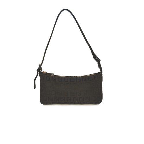 Vintage Fendi Zucchino Mini Baguette Shoulder Bag in Dark Brown | NITRYL