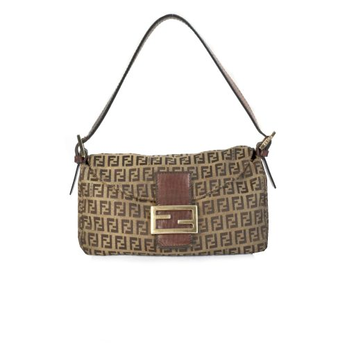 Vintage Fendi Zucchino Monogram Baguette Bag in Brown and Gold | NITRYL