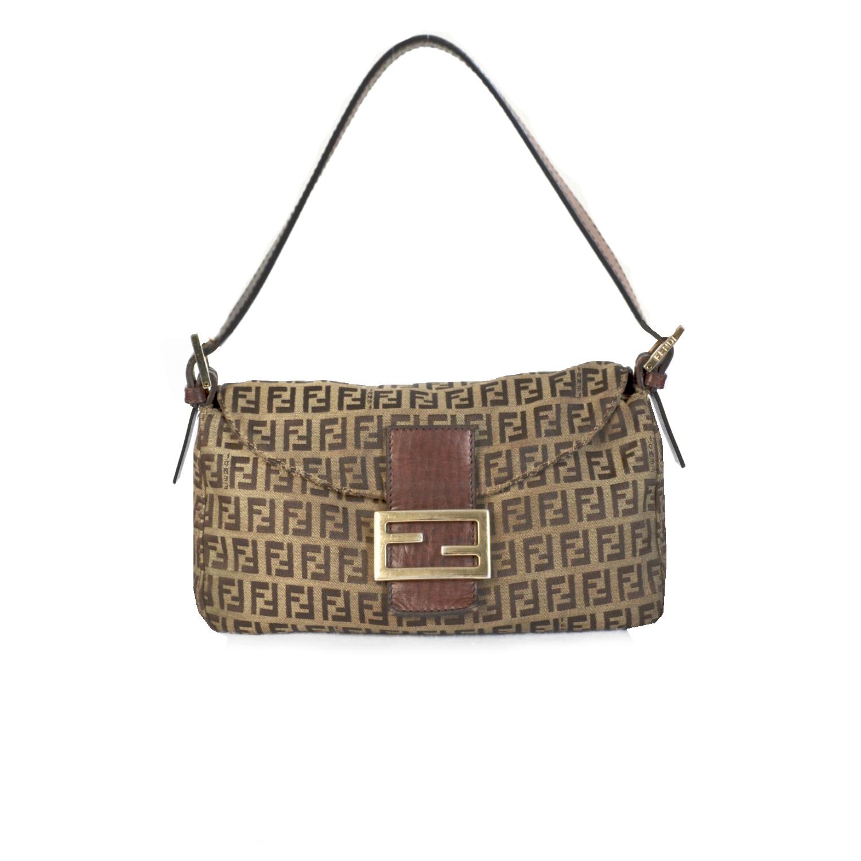 Vintage Fendi Zucchino Monogram Baguette Bag in Brown and Gold   NITRYL