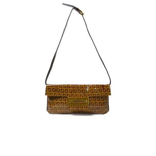 Vintage Fendi Zucchino Monogram PVC Shoulder Bag in Brown and Gold | NITRYL