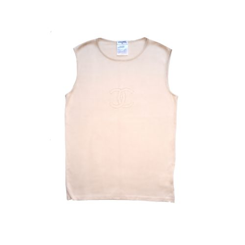 Vintage Chanel Monogram Logo Knit Vest Tank in Beige | NITRYL