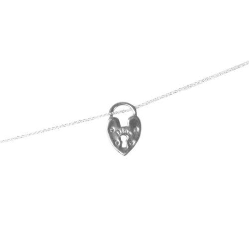Dior Heart Lock Charm Necklace in Silver | NITRYL