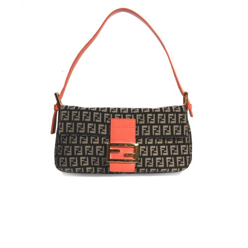 Vintage Fendi Zucchino Flap Baguette Bag in Black & Orange | NITRYL