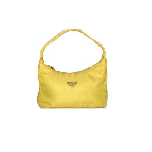 Vintage Prada Nylon Hobo in Neon Yellow | NITRYL
