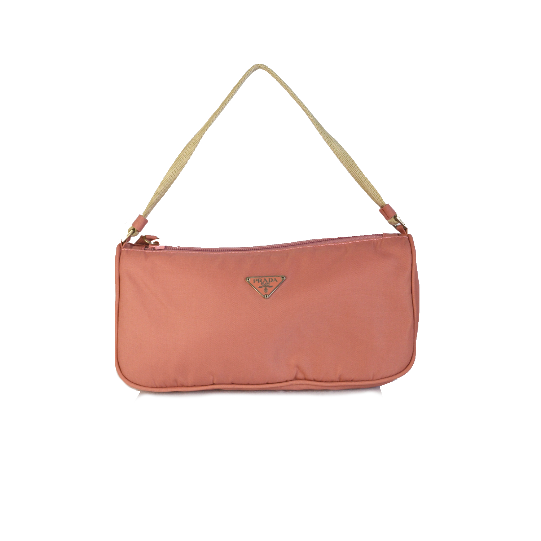 Vintage Prada Nylon Shoulder Mini Bag in Baby Pink | NITRYL