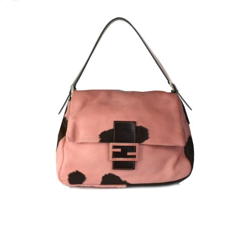 Fendi Cow Print Mamma Baguette in Baby Pink and Brown | NITRYL