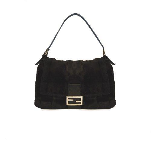 Vintage Fendi Faux Fur Mamma Baguette Bag in Black   NITRYL