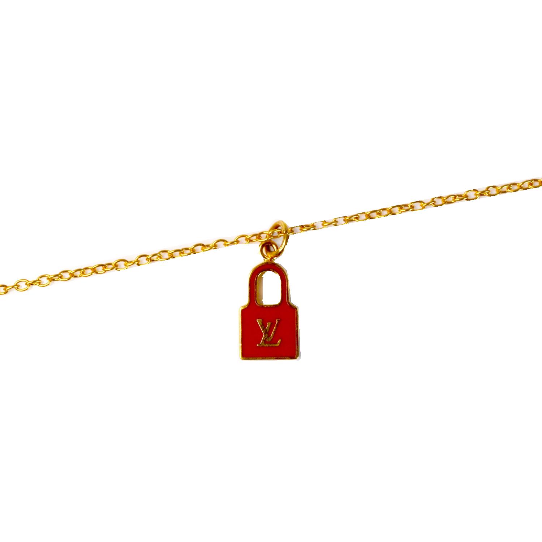 Reworked Louis Vuitton Padlock Logo Necklace in Gold | NITRYL