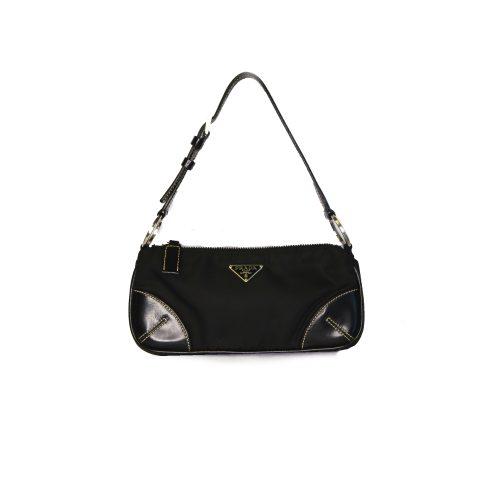 Prada Micro Mini Nylon Baguette Bag in Black   NITRYL