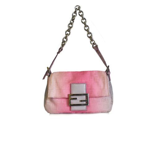 Vintage Rare Fendi Mini Mamma Baguette Bag in Pink Ombre with Silver Chain | NITRYL