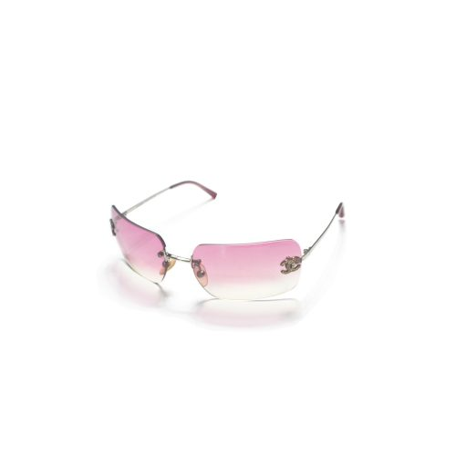Chanel Diamante Rimless Ombre Sunglasses in Hot Pink | NITRYL