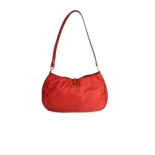 Vintage Prada Nylon Shoulder Bag in Cherry Red | NITRYL