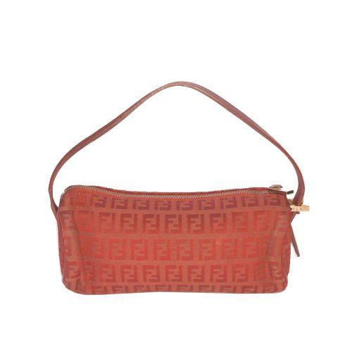 Vintage Fendi Zucchino Monogram Mini Pochette Bag in Red | NITRYL