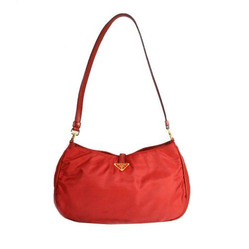 Vintage Prada Nylon Shoulder Bag in Cherry Red | NITRYL