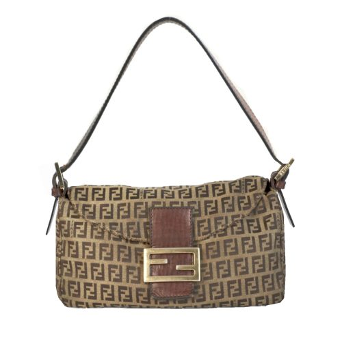 Vintage Fendi Zucchino Monogram Baguette Bag in Brown and Gold | NITRYL