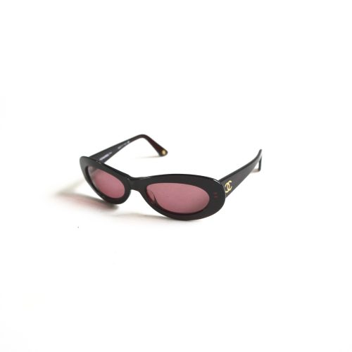 Vintage Chanel Oval Sunglasses in Maroon   NITRYL