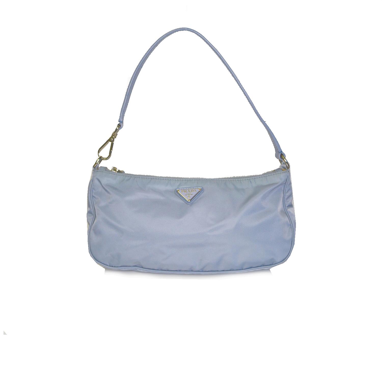 Vintage Prada Nylon Baguette Shoulder Bag in Baby Blue | NITRYL