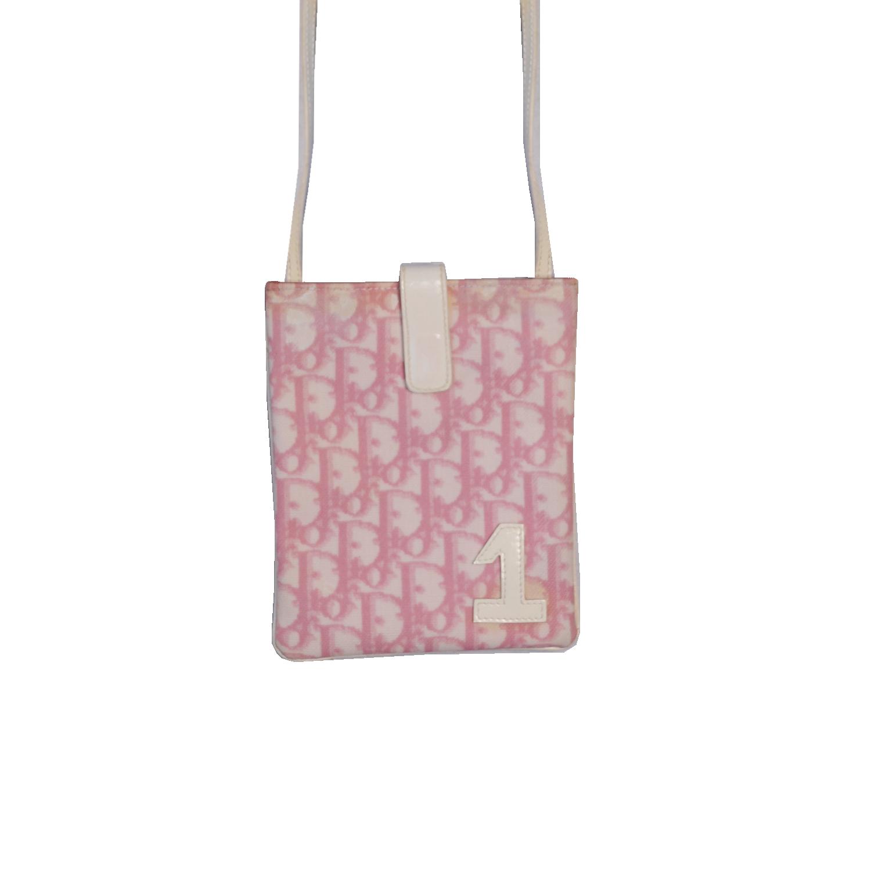 Vintage Dior Monogram Cross Body Side Bag in Baby Pink | NITRYL