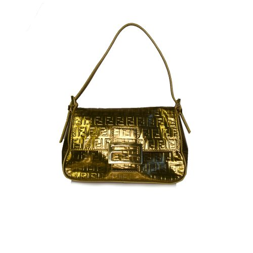 Vintage Fendi Zucchino Mini Mama Baguette Bag in Metallic Gold | NITRYL