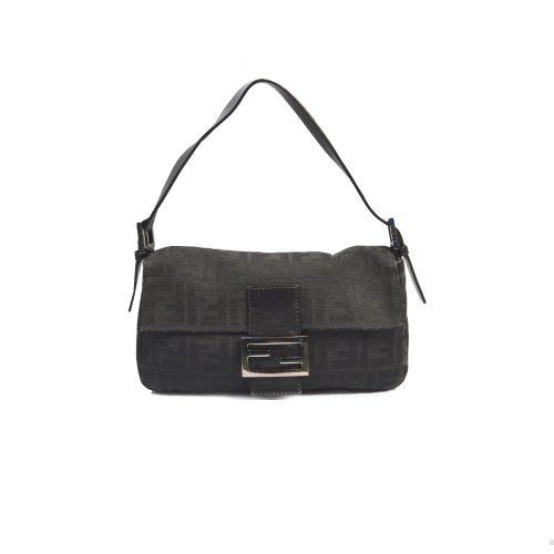 Fendi Zucca Flap Baguette Shoulder Bag in Black | NITRYL