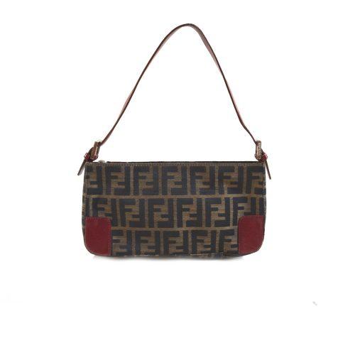 Vintage Fendi Zucca Mini Baguette Bag in Brown and Red | NITRYL