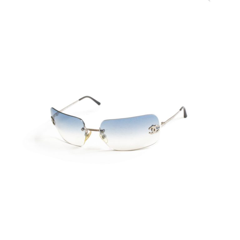 Vintage Chanel Diamante Rimless Ombre Sunglasses in Baby Blue | NITRYL