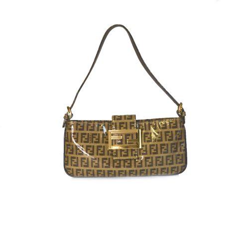 Fendi Zucchino Monogram PVC Mini Baguette Bag in Brown and Gold | NITRYL
