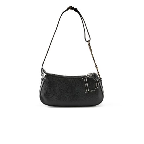 Vintage Rare Dior Leather Baguette Bag with Spell-out Strap in Black | NITRYL