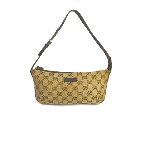 Vintage Gucci Monogram Baguette Mini Bag in Beige | NITRYL