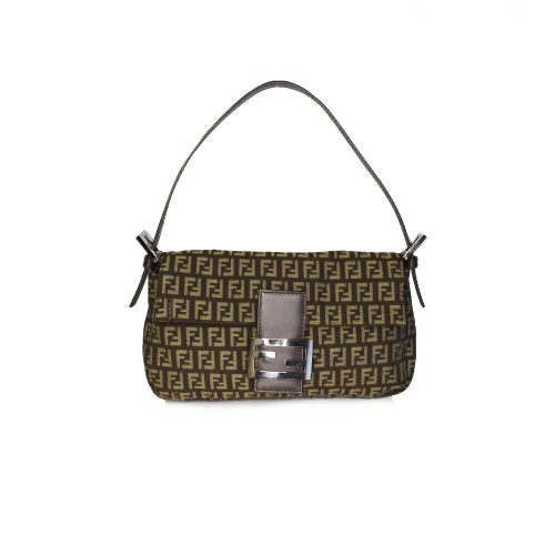 Vintage Fendi Monogram Zucchino Baguette Shoulder Bag in Brown | NITRYL
