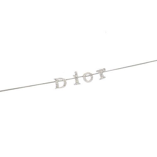 Vintage Dior Spellout Diamante Logo Necklace in Silver | NITRYL