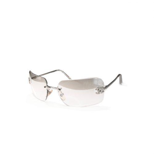 Vintage Chanel Diamante Rimless Sunglasses in Clear | NITRYL