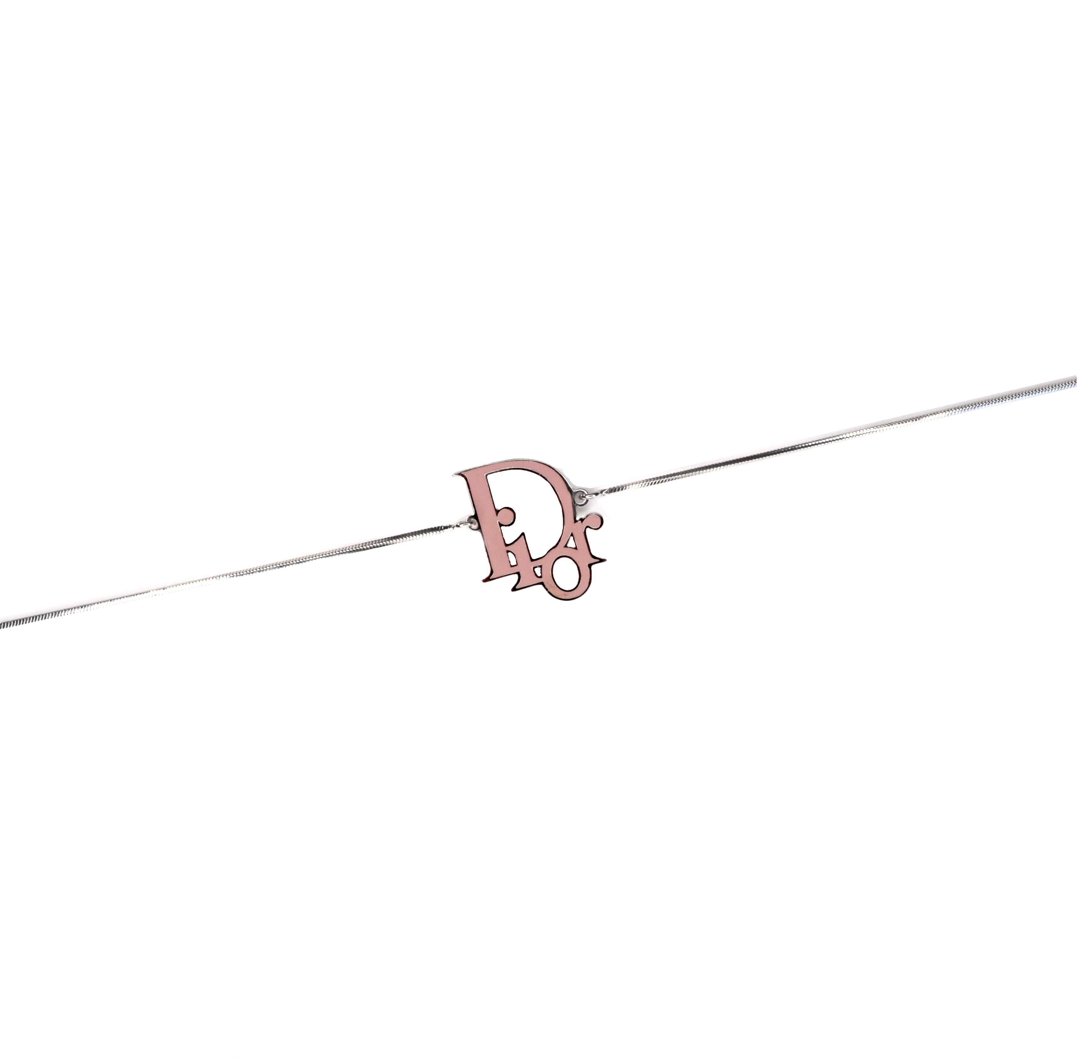Dior Monogram Enamel Silver Choker in Pink | NITRYL