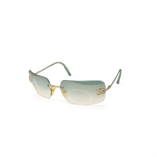 Vintage Chanel Diamante Rimless Sunglasses in Green | NITRYL