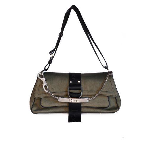Vintage Dior Hardcore Bag in Khaki with Swarovski Spellout Charm | NITRYL