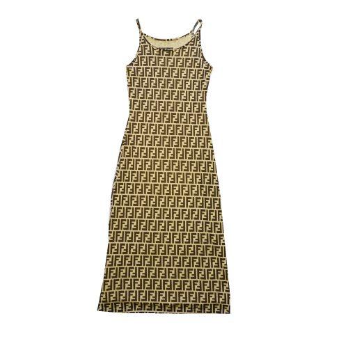 Vintage Fendi Zucca Monogram Maxi Dress UK 10 | NITRYL