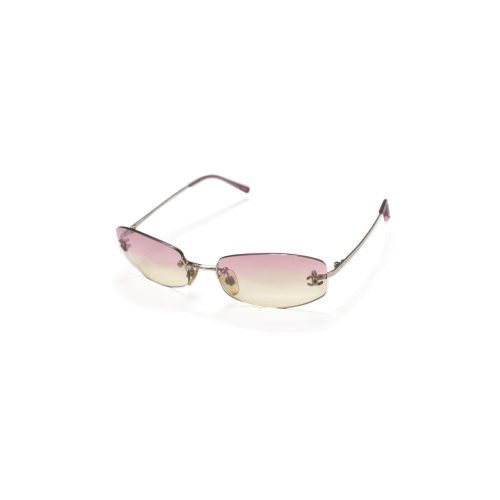 Vintage Chanel Tinted Rimless Sunglasses in Baby Pink | NITRYL