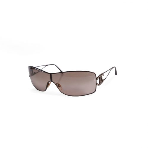 Vintage Chanel Diamante Rimless Shield Sunglasses in Brown | NITRYL