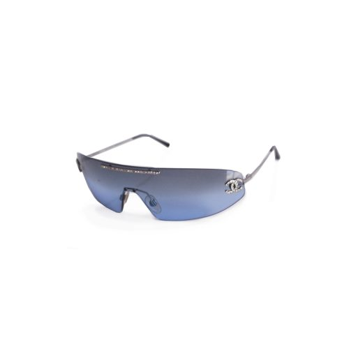 Vintage Chanel Diamante Rimless Visor Shield Sunglasses in Blue | NITRYL