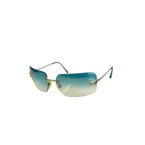 Vintage Chanel Diamante Rimless Sunglasses in Aqua Green/Blue | NITRYL